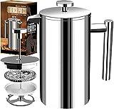 KICHLY (1L / 1000 ml 32 oz) 8 tazas Cafetera Francesa Doble Pared - espresso y tetera Acero inoxidable