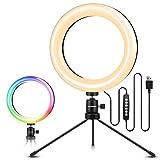 ELEGIANT Aro de Luz Trípode, Anillo de Luz LED para Móvil con 10 Colores RGB + 10 Niveles de Brillo para Fotografía, Grabación de Vídeo, Maquillaje, Transmisión en Vivo, Vlog, Youtube, TIK Tok