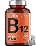 Vitamina B12 con ácido fólico   200 tabletas de primera calidad de 1000 mg   Suplemento vegetariano y vegano   No OGM y sin gluten   Suministro para 6 meses