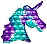 Juguete Antiestrés Pop It Sensorial de Explotar Burbujas Push Pop Bubble Fidget Toy Herramienta para aliviar el Estrés y la Ansiedad para Niños y Adultos Unicornio Multicolor (Verde/Lila)
