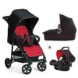 Hauck Rapid 4 Plus Trio Set - Carrito de bebe 3 in 1, de 0 meses a 25 kg, adaptable a Isofix, capazo, respaldo reclinable, manillar ajustable en altura, plegado con una mano, grupo 0+, negro rojo