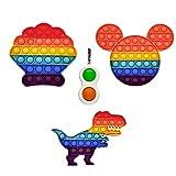 GreenBee Pop it Fidget Toy - Push Pop it Antiestres Niños - Push Pop Bubble Fidget Juguetes Antiestres - Sensorial Herramientas I Con Llavero Fidget Pop de regalo I Set de 3