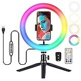 VicTsing Aro de Luz RGB de 34 Colores,Anillo de Luz de Trípode Teledirigido de 10'' con 168 LED,Aro de Luz para Movil,para TIK Tok,Youtube,Transmisión en Vivo,Selfie,Maquillaje,Belleza,Lectura