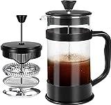 KICHLY - 8 tazas (1 litro / 1000 ml) Cafetera Francesa espresso y tetera con triple filtro émbolo de acero inoxidable - Negro