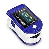 Oxímetro de pulso, monitor de oxígeno Monitor de ritmo cardíaco de dedo Monitor de saturación de oxígeno para adultos y niños con pantalla OLED Eprestar