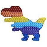 FUSKANG Dinosaurio Gigante Pop Up Fidget Toy, Big Push Pot Bubble Stress Steter Ansiety Relieve Juguetes para ADHD Autismo Necesidades Especiales, Enorme Arco Iris Tyrannosaurus (Color : B)