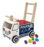 I M TOY - Correpasillos Andador de Madera camión de policía - IM87701