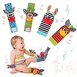 Sonajero Calcetines y Muñequeras para Bebé, Sonajero Toys con Buscador de Muñeca y Pie Juguetes de Animales Suaves y Bonitos para Recién Nacidos Niños Bebés (2 Pulseras y 2 Calcetines)
