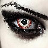 """Designlenses, Dos lentillas de color blanco y rojo para Halloween zombie disfraz lentillas sin dioprtías/corregir + gratis caso de lente """"Zombie Fear"""