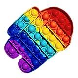 Juguete sensorial para jugar con los dedos, antiestrés, burbujas para explotar, push pop, popit, autismo, necesidades especiales, antiansiedad, juguetes antiestres, para niños y adultos (AmongUs)