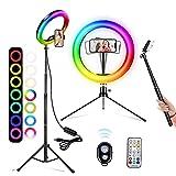 A-TION RGB Aro de Luz con Trípode para Movil, 10' Anillo de Luz Selfie, 26 RGB Colores 3 Modos 10 Niveles de Aro Luz con Mando Bluetooth, para TIK Tok/Youtube/Instagram/Fotografía/Maquillaje