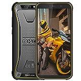 Movil Antigolpes, Blackview BV5500 Plus Android 10 Teléfono Robusto 3GB+32GB (SD 128GB), 8MP+0.3MP+5MP, Batería 4400mAh, Smartphone 4G de 5.5' HD+ Móvil Resistente, Dual SIM/NFC/Face ID/GPS-Amarillo