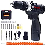 Taladro Atornillador 2 Baterías, GOXAWEE 100Pcs Kit Taladro Bateria/Destornillador Eléctrico (2 Baterías de Litio 1500mAh, 30N.m Par Máx, 2 Velocidades, 10mm Portabrocas Automático)