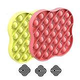 Evelure Push Pop Bubble Fidget, 2X Push Pop Bubble Sensory Fidget Juguete Educativo para aliviar el estrés, Necesidades Especiales silenciosas Aula para niños (Yellow+Red)